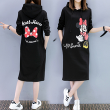 New Women Mickey Minnie Summer Dresses Fashion Clothes Hooded Loose Casual Black Pocket Plus Size Dress Vestidos Mujer Club цены
