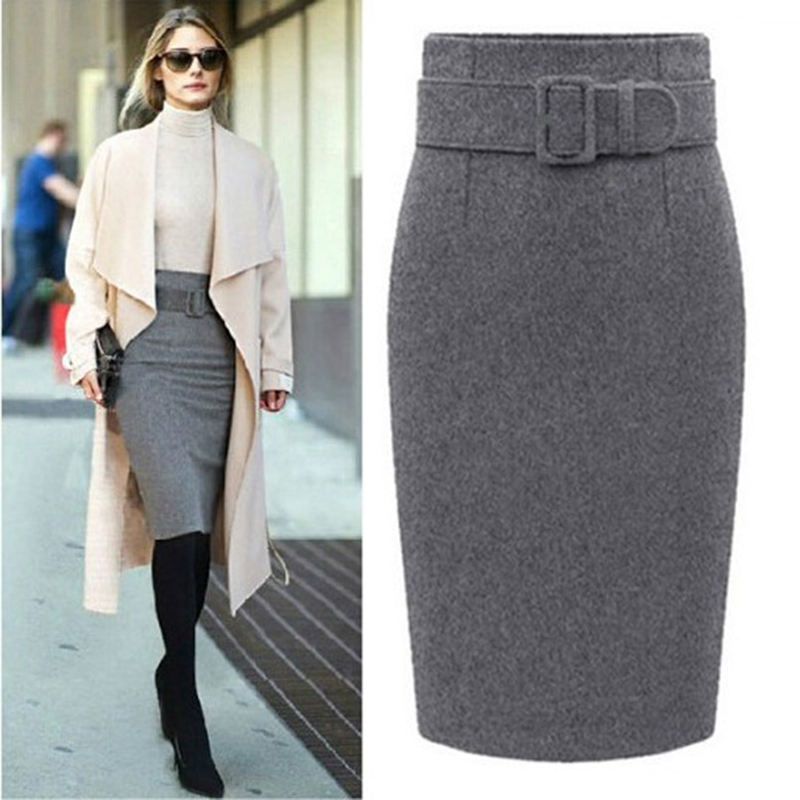 Women Woolen Autumn Long Skirt With Belt Sexy Solid Grey High Waist Tight Women Slit Elegant Party Club Wear Midi Pencil Skirts