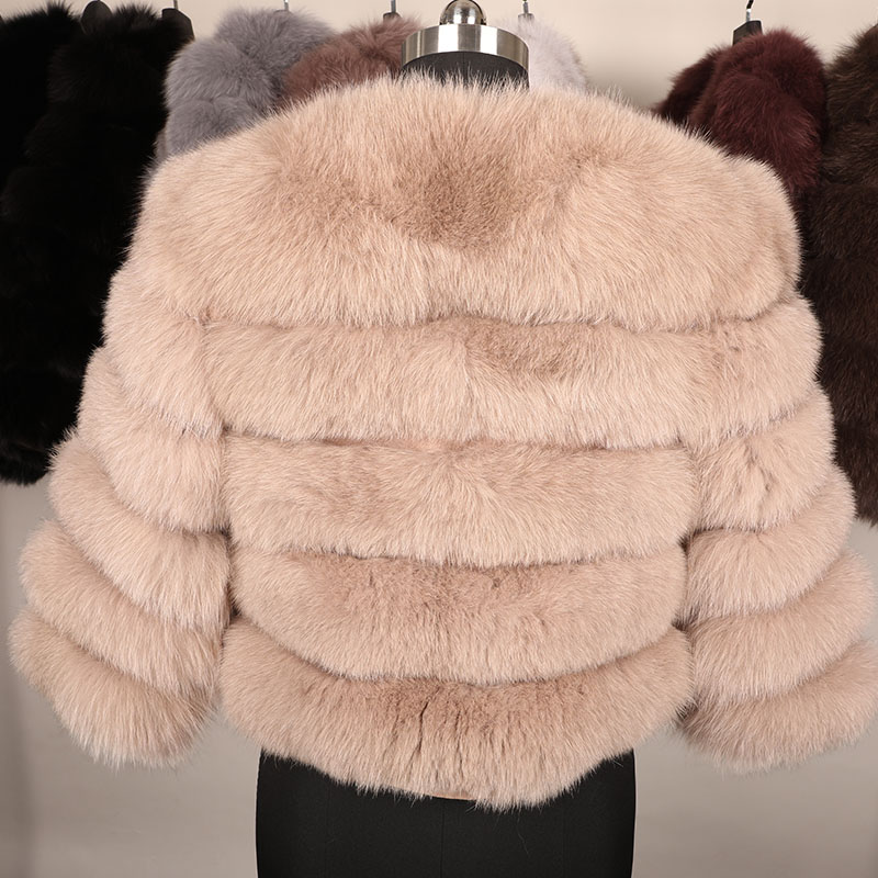 maomaokong 50CM Natural Real Fox Fur CoatWomen Winter natural fur Vest Jacket Fashion silm Outwear Real Fox Fur Vest Coat Fox 20