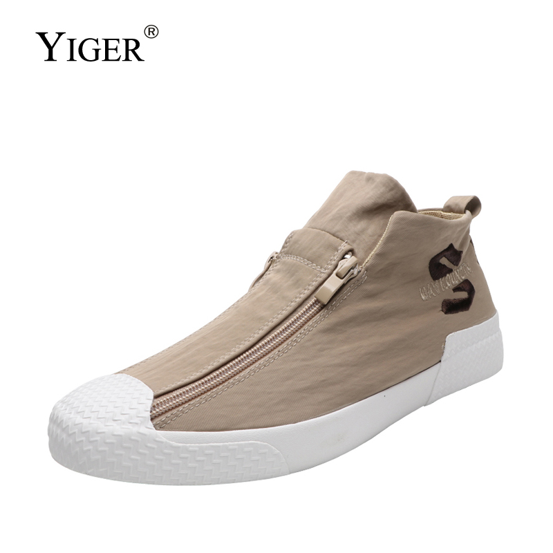 YIGER New Men canvas shoes man lazy Autumn new trend mens casaul male loafers breathable sneakers 0383