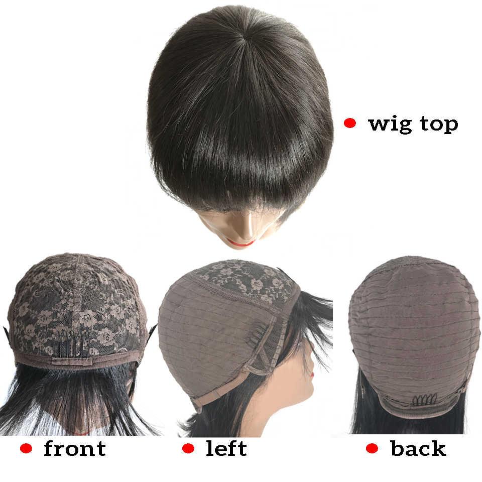 Toptan fiyat brezilyalı düz uzun kahküllü peruk pixie kesim bob peruk kısa insan saçı peruk kadınlar için makine olmayan Remy
