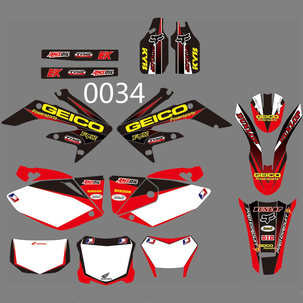 For HONDA CRF250X 2004-2012 New Full Graphics Decals Stickers Custom Number Name Glossy Bright Stickers Waterproof