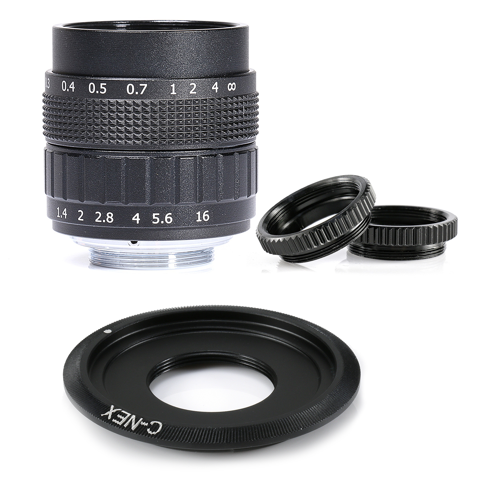 Amiable Fujian 50mm F/1.4 Aps-c Cctv Lens+adapter Ring+2 Macro Ring For Sony Nex Mirroless Camera A5300/a6000/a6300/a7/a7ii/a9