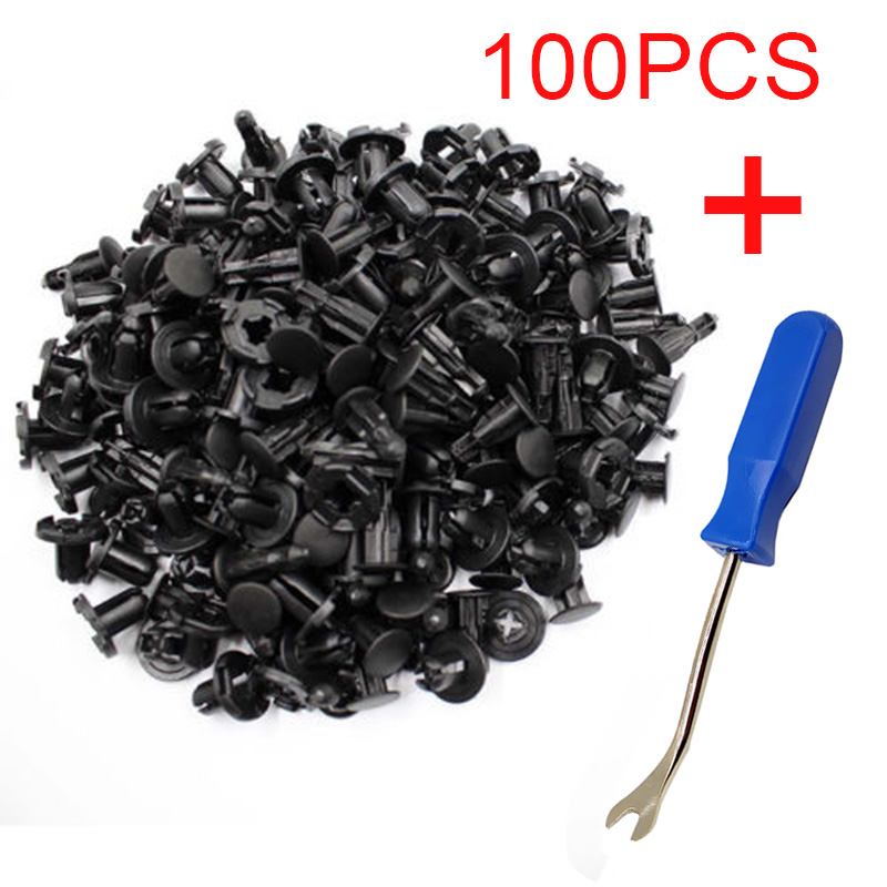 100piece 8mm Push-type Rivets Fastener Bumper Clips Set+Removal Tools For Nissan