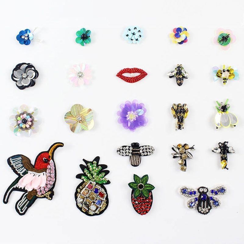 Beads Pineapple Clothing Patches Apparel Applique Sewing Embroidery Accessories LX9E