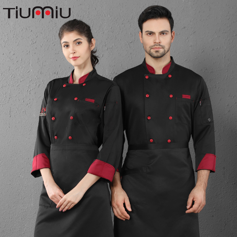 Stitching Collar Double Breasted Chef Cooking Uniform Unisex Long Sleeve Coat Cafe Hotel Hair Salon Bake Shop Waiter Work Shirt