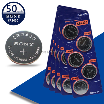 50Pcs Sony 3V DL2430 BR2430 ECR2430 CR2430 Watch Button CoCells Lithium Battery Watch Batteries Big Promotion