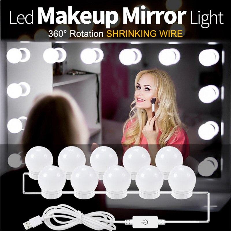 DC5V 2/6/10/14Bulbs LED Makeup Mirror Light Bulb Hollywood Makeup Vanity Lights USB Wall Lamp  Dimmable Dressing Table Mirror