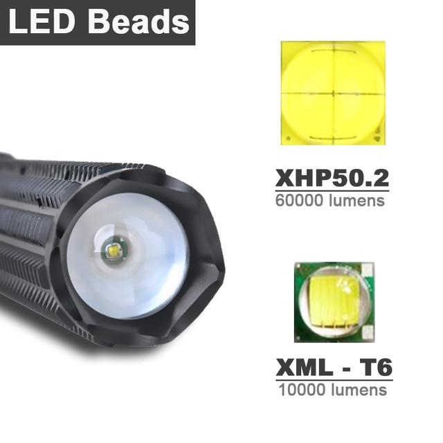 1000000 lumens XHP50.2 super powerful tactical flashlight led self defense Telescopic bat xhp50 waterproof rechargeable torch 2