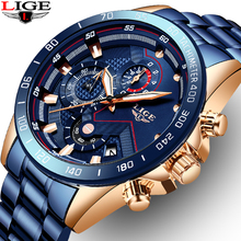LIGE Classic Business Mens Watches Top Luxury Stainless Steel Dial Man Clock Waterproof Quartz Watch Men Sport Chronograph watch lige fashion clock mens watches top brand luxury casual quartz watch men business stainless steel waterproof sport chronograph