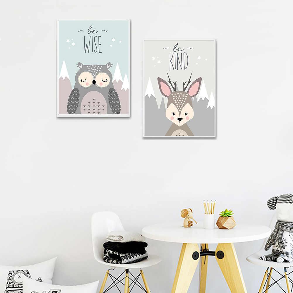 Baru Lovely Kartun Fox Owl Rusa Nordic Lukisan Kanvas Seni Cetak Poster Gambar Dinding Kamar Bayi Anak-anak Kamar Tidur Dekorasi Rumah