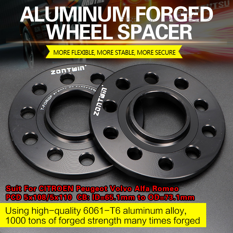 2/4PCS 3/5/8/10/12mm Wheel Spacer Adapters PCD 5x108/5x110 CB: ID=65.1mm To OD=73.1mm Suit For CITROEN Peugeot Volvo Alfa Romeo