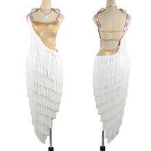 Платье для латинских танцев белое платье с бахромой женское платье для соревнований танцев юбка для танцев Румба танцевальный костюм платье для латинских танцев BL3139
