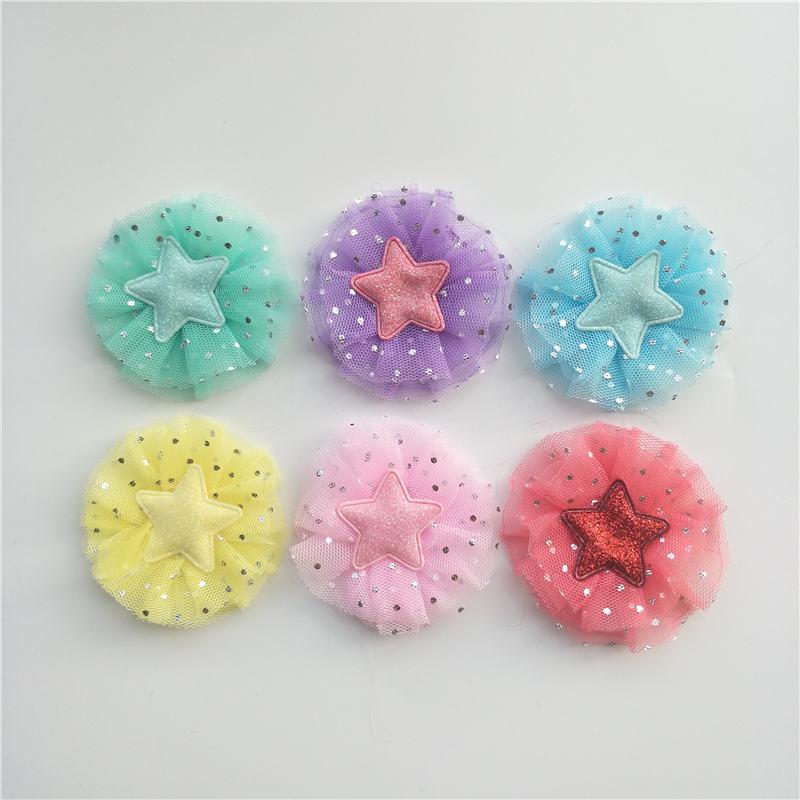Купить с кэшбэком 6.5cm 24pcs/lot DIY Handmade Shiny Star Flower Padded Applique for Children's hair Clip Accessories