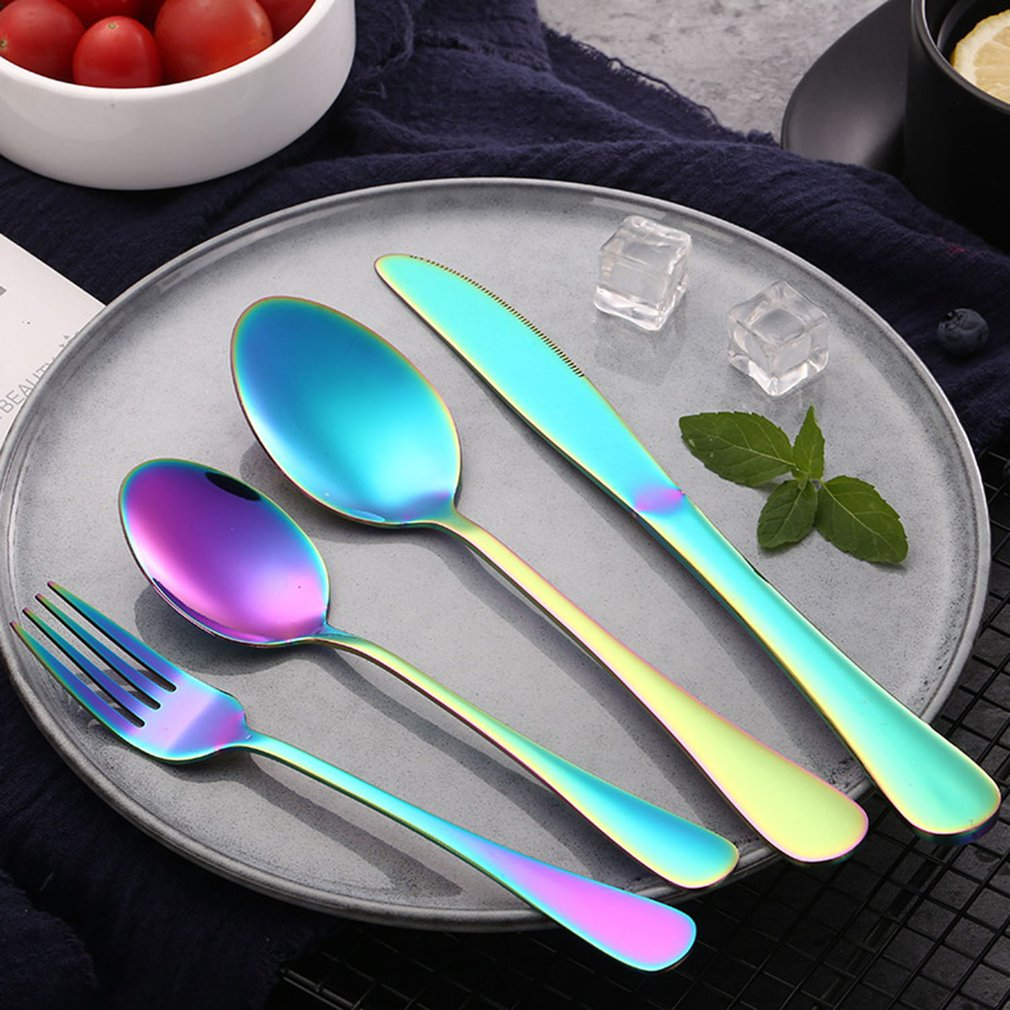 Colorful 4pcs Stainless Steel Spoon Set With Comfort Handle Suitable For Eat Food And Noodles