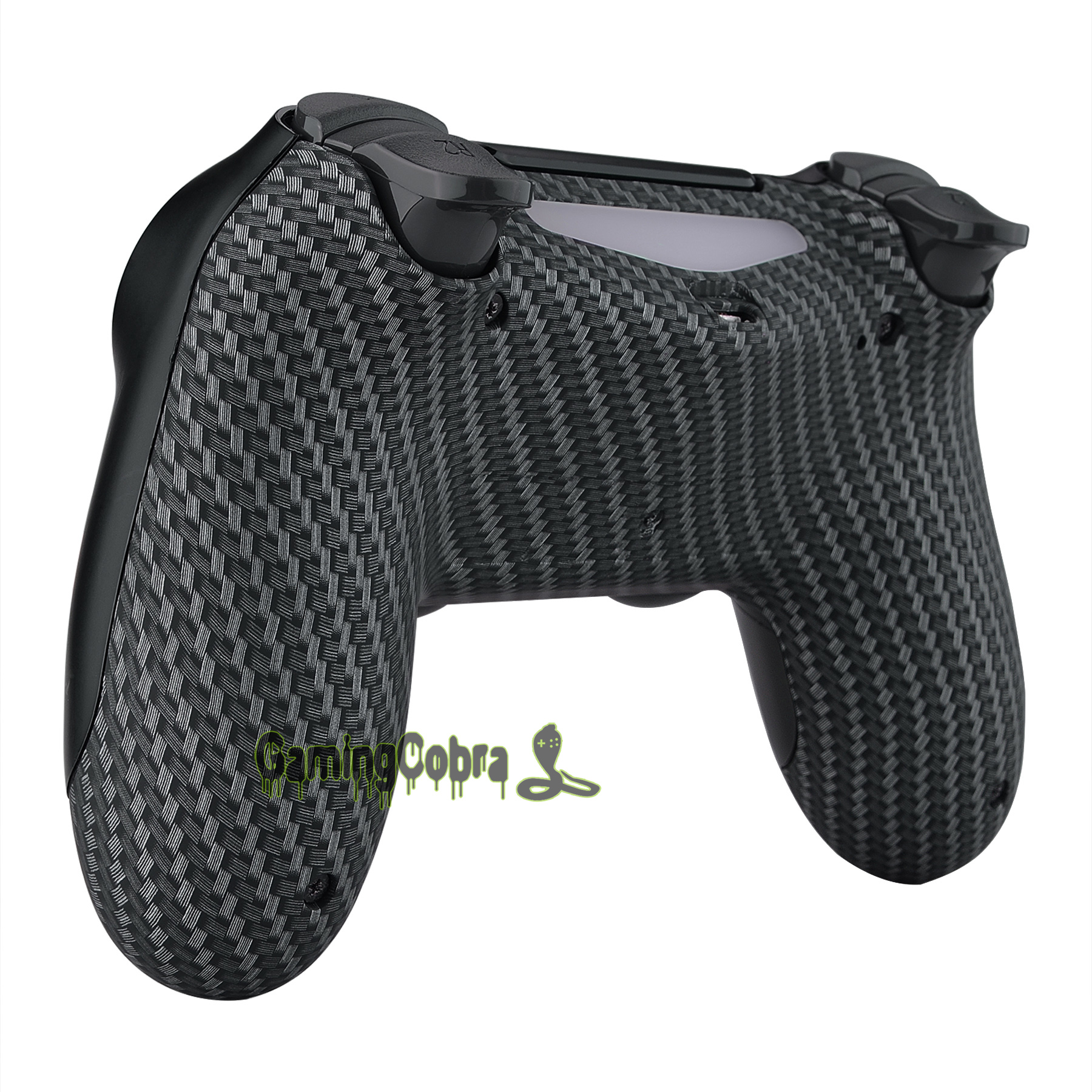 Black Silver Carbon Fiber Soft Touch Bottom <font><b>Shell</b></font> Replacement Part for PS4 Slim Pro Controller <font><b>JDM</b></font>-040 <font><b>JDM</b></font>-050 <font><b>JDM</b></font>-<font><b>055</b></font> image