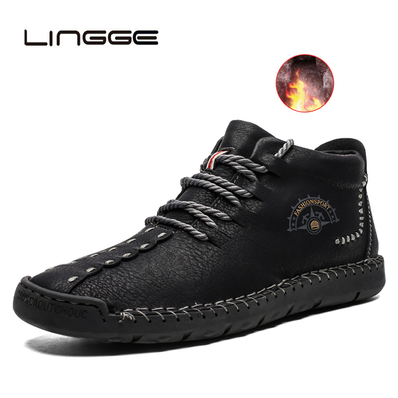 LINGGE Hot Sale Men Boots Winter Warm Leather Snow Boots High Quality Ankle Shoes With Fur Plush Mens Footwear Big Size 48