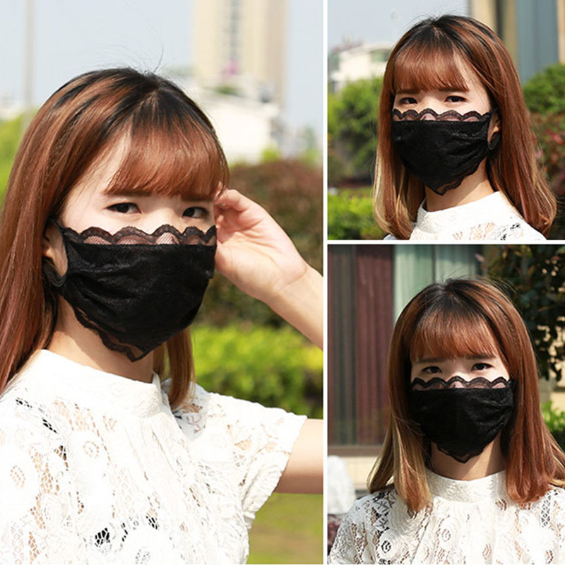 Breathable Mouth Masks Women Lace Cotton Mask Cycling Anti-Dust Face Mask Smog Protection Repeatable Washable Masks Black White