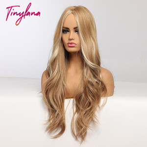 Image 3 - זעיר לנה ארוך גלי בלונד סינטטי פאות עם הבהרה התיכון חלק לנשים אפרו קוספליי טבעי שיער חום עמיד סיב