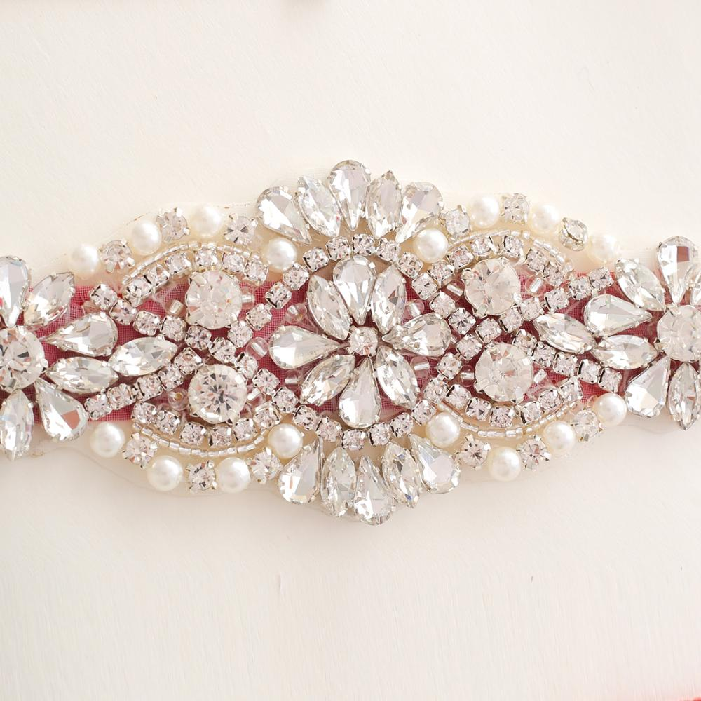 Crystal Wedding Belt Sliver Bridal Belt Rhinestone Sash Wedding Dress Sash Belt Crystal Satin Wedding Sash  Jy75s