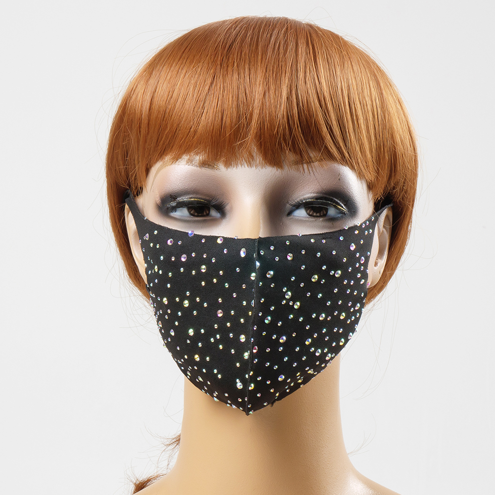 Ccbodily Purge Face Jewelry Mask Rhinestone Plaid Collar Scarf Crystal Mask Party Fashion Jewelry Female Venetian Mask SA-7