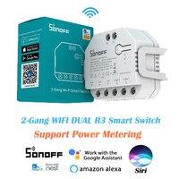 SONOFF-듀얼 R3 DIY 무선 와이파이 미니 스마트 스위치 2 웨이 파워 미터 3 모델 타이머 지원 eWeLink 앱 Alexa Google Home Siri