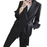 Runway Designer Striped Women Set 2 Piece Fashion Office Lady Business Work Wear Blazer + Pencil Pants Uniform Suits Plus Size