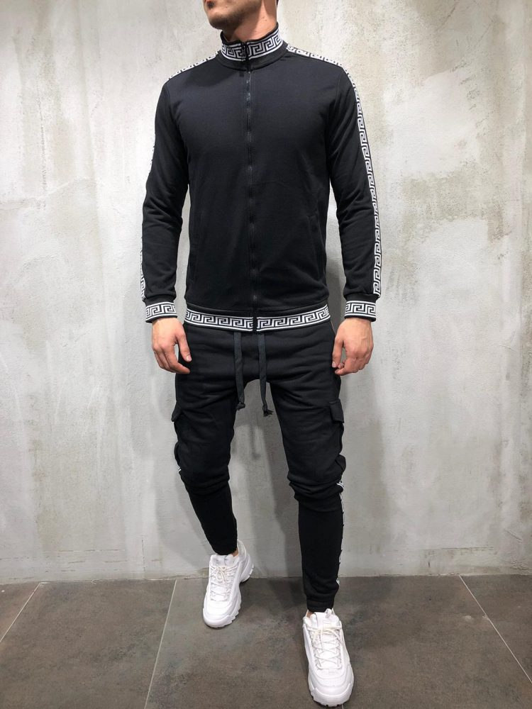 New 2019 Jogging Homme Men's Zipper Cardigan Sweater 2 Pieces Casual Sportswear Tracksuit Men Trainingspak Mannen Jogging Homme