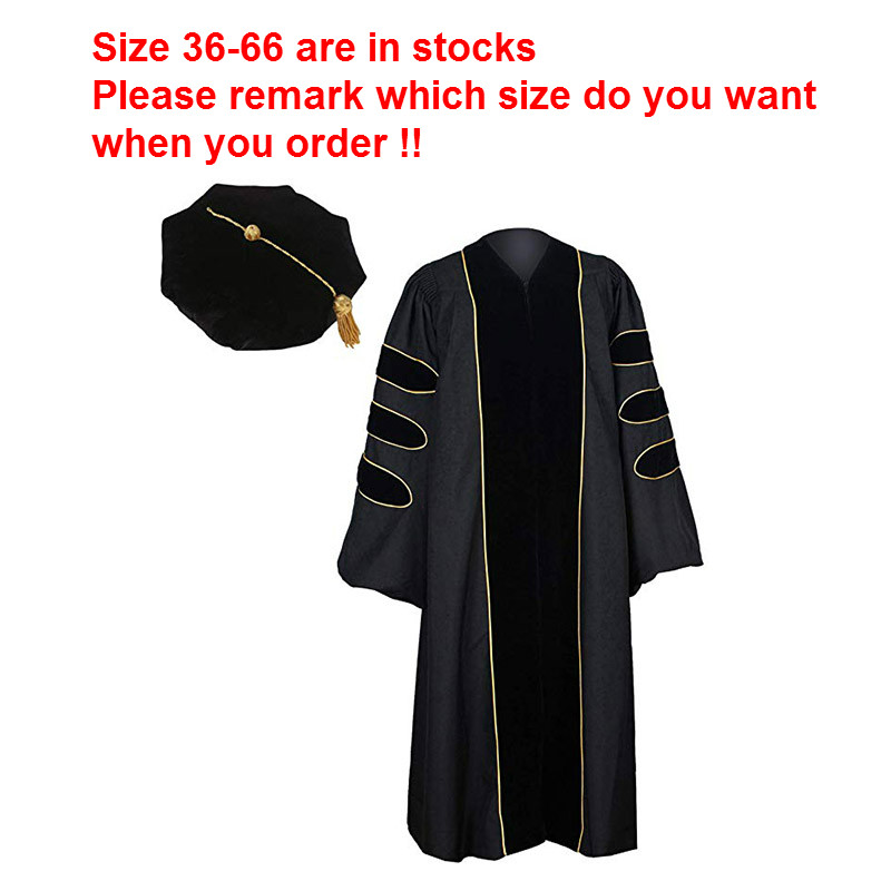 2019 Unisex Graduationservice Neutral  Graduation Gown With Golden Tubing And Bkack Doctoral TAM Pack Academic Dress Women Set