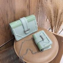 Fashion Mini Small Square Crossbody Bag Solid Color PU Leath