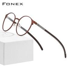 FONEX alaşımlı optik reçete gözlük erkekler Retro yuvarlak miyopi gözlük çerçevesi kadın 2019 Metal tam jant vidasız gözlük 984