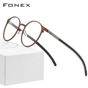 Image 1 - Fonex 合金光学処方眼鏡男子レトロラウンド近視眼鏡フレームの女性 2019 メタルフルリムネジなし眼鏡 984