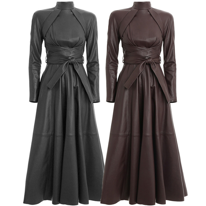 OMIKRON Autumn Runway Solid Women A Word Faux Leather PU Dress Long Sleeve High Waist with Sashes Irregular Pleated Maxi Dress
