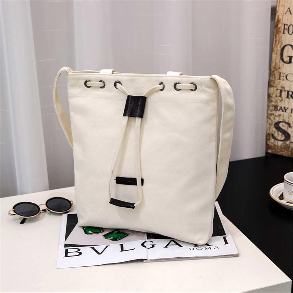 B02030 женские холщовые сумки через плечо переносная Повседневная Сумка Многоразовые Сумки для покупок на шнурке