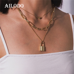 Ailodo Multi Layer Lover Lock Pendant Choker Necklace Padlock Heart Long Chain Necklace Collier Best Couple Jewelry Gift 20JUN36