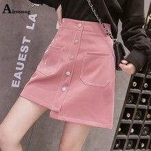 Autumn New Ins PU Bright Light Skirts Women High Waist Skirt Mini Pink Pocket zipper Button Female A-line Safety Skirt Saias
