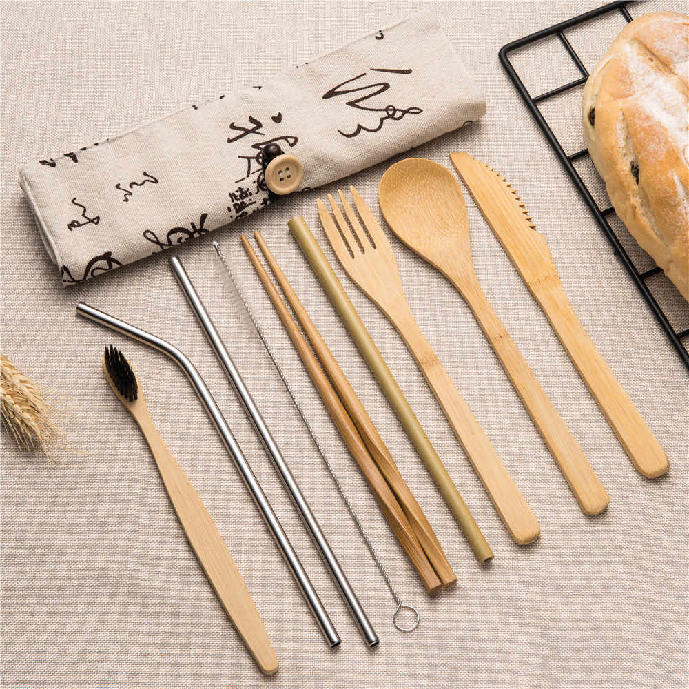 Eco-Friendly Portable Tableware Wooden Cutlery Sets with Useful Spoon Fork Chopsticks Travel Gift Dinnerware Suit Dinning Sets