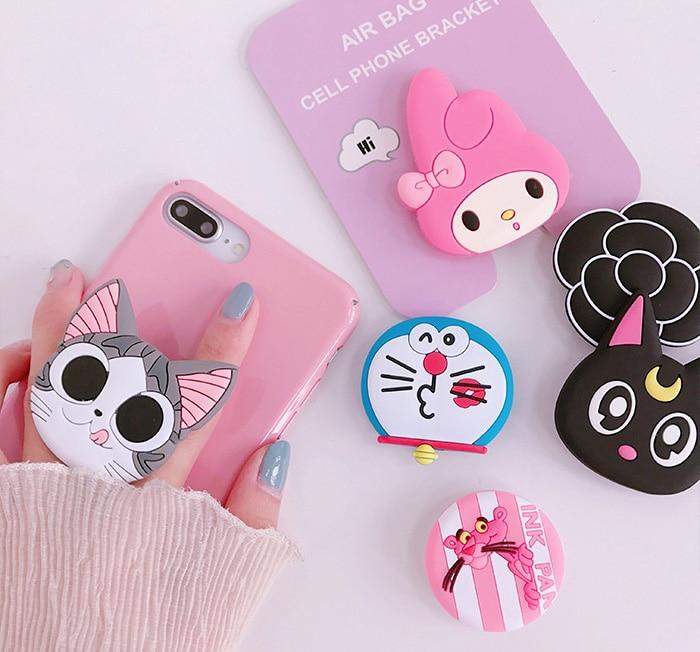 New Mobile Phone Bracket Cute Hello Kitty Air Bag Phone Stand Finger Holder Sakura Luna Cat Phone Ring  Phone Grip Socket