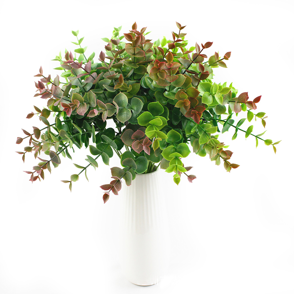3pcs 7pcs Artificial Leaves Branches Eucalyptus Plant For Aquarium Plastic Fake Plants Wedding Home Wall Backdrop Decor Wreath
