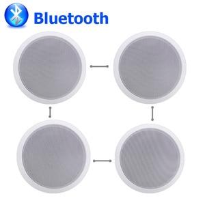 "Image 2 - 가정 4pcs 천장 스피커에있는 Bluetooth 벽 전 범위 5.25 ""확성기 입체 음향 오디오 스피커 목욕탕 상점 호텔 확성기"