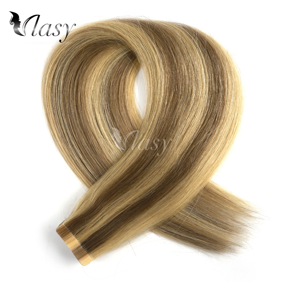 Vlasy 20'' Straight Tape In Human Hair Extension Remy Skin Weft Adhesive Hair Balayage Color Salon Style 2.5g/pc