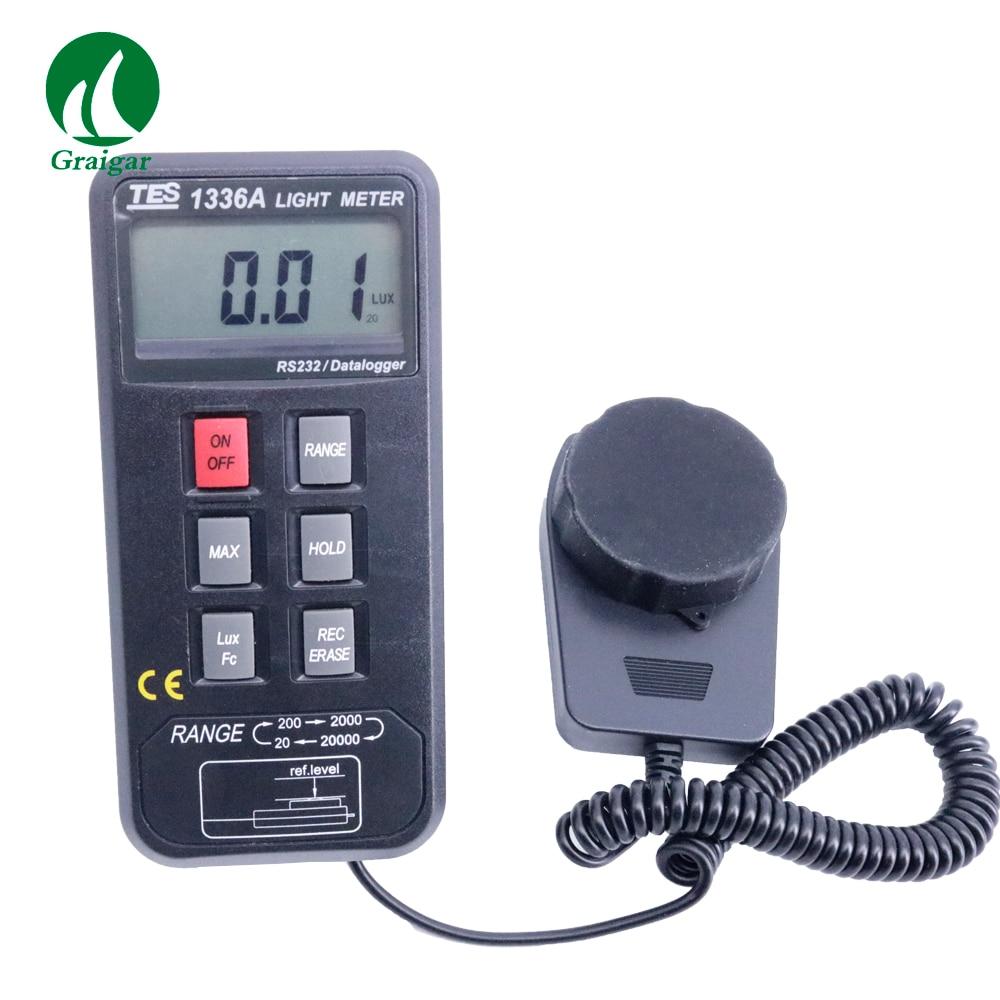 TES 1336A Datalogging Light Meter Digital LUX Meter Measuring Range 20/200/2000/20000 Lux light meter light lights & lighting - title=