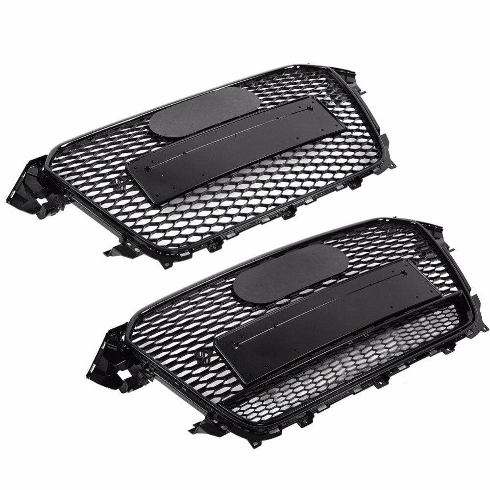 Per RS4 Stile Anteriore Sport Esagonale Maglia A Nido D'ape Hood Grill Gloss Nero per Audi A4/S4 B8.5 2013-2016 auto-accessori per lo styling