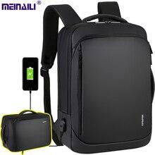 2019 Mens ชาร์จ USB กระเป๋าเป้สะพายหลัง 14 15.6 นิ้วกระเป๋าแล็ปท็อปธุรกิจชายกระเป๋าเป้สะพายหลังกันน้ำ Multifunctional กระเป๋าเป้สะพายหลัง