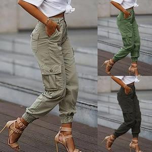 High Waist Women Solid Fashion Cargo Pants Multi Big Pockets Classic Casual Long Pants Zipper Daily Vestidos Mujer D30