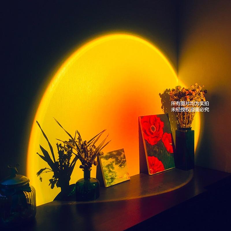 Lampa projektora Sunset Rainbow atmosfera Led lampka nocna do domu sypialnia kawiarnia dekoracja ścienna w tle lampa stołowa USB