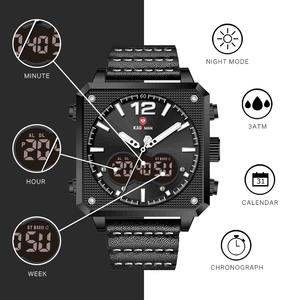 Image 2 - أفضل العلامة التجارية الفاخرة KADEMAN الرجال التناظرية الرقمية الساعات الرياضية جلد طبيعي مربع الشكل ساعة كوارتز Relogio Masculino K9038