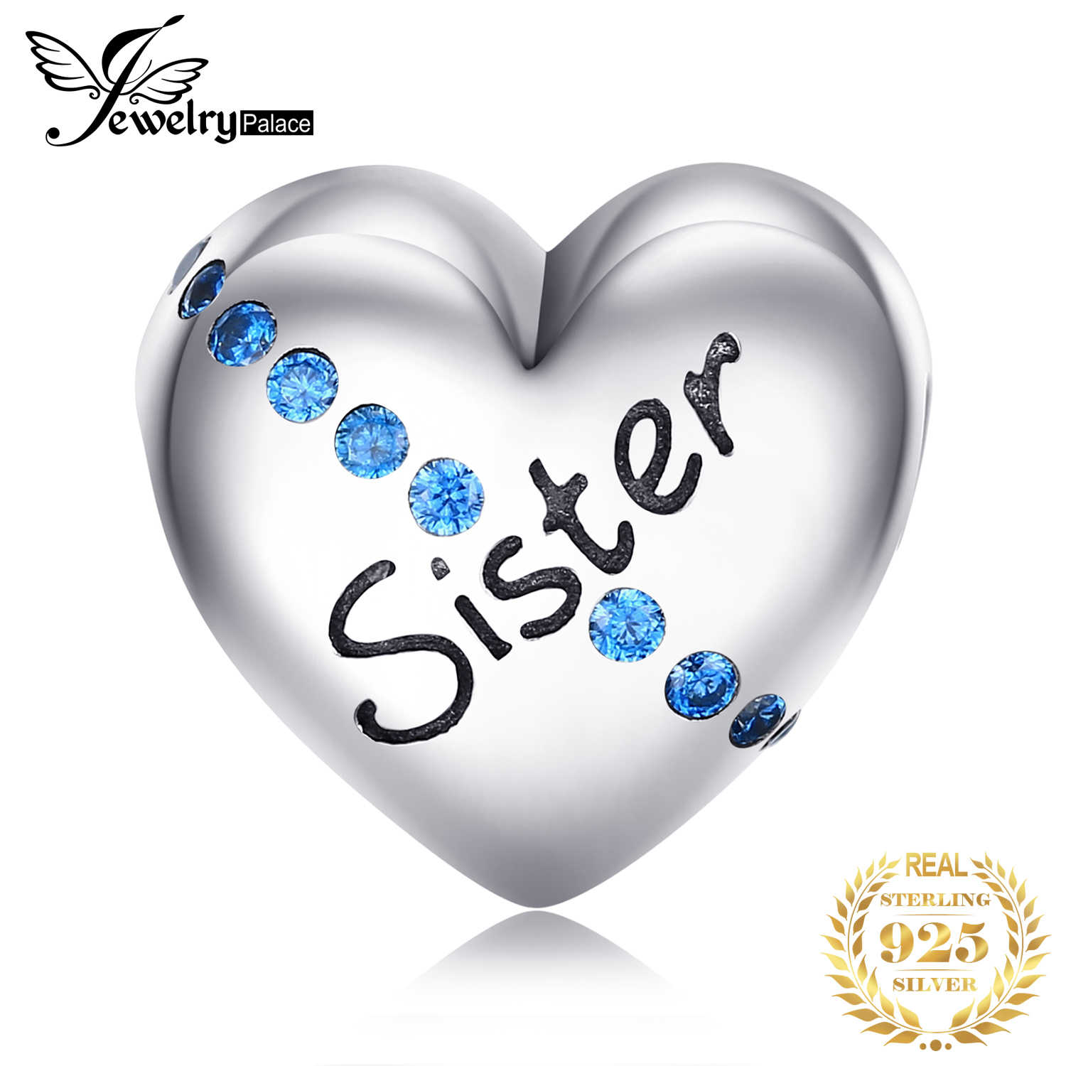 JewelryPalace 925 Sterling Silver Engraved Sister Blue Cubic Zirconia Heart Charm Beads Fit Bracelets For Your Sister As Gifts
