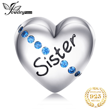 JewelryPalace Heart Sister 925 Sterling Silver Beads Charms Original For Bracelet original Jewelry Making