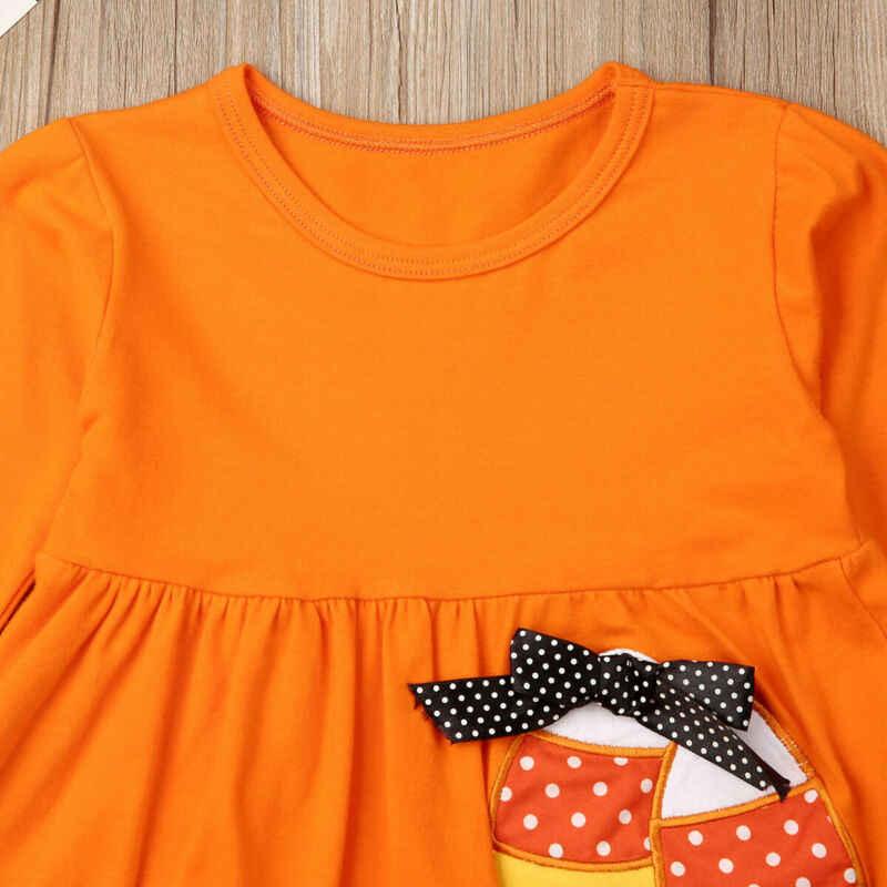 Emmababy เด็กวัยหัดเดินเด็กผู้หญิง Ruffles แขนยาวเสื้อยืด Tops + ชุดกางเกง Leggings ฮาโลวีนเครื่องแต่งกายฤดูใบไม้ร่วง